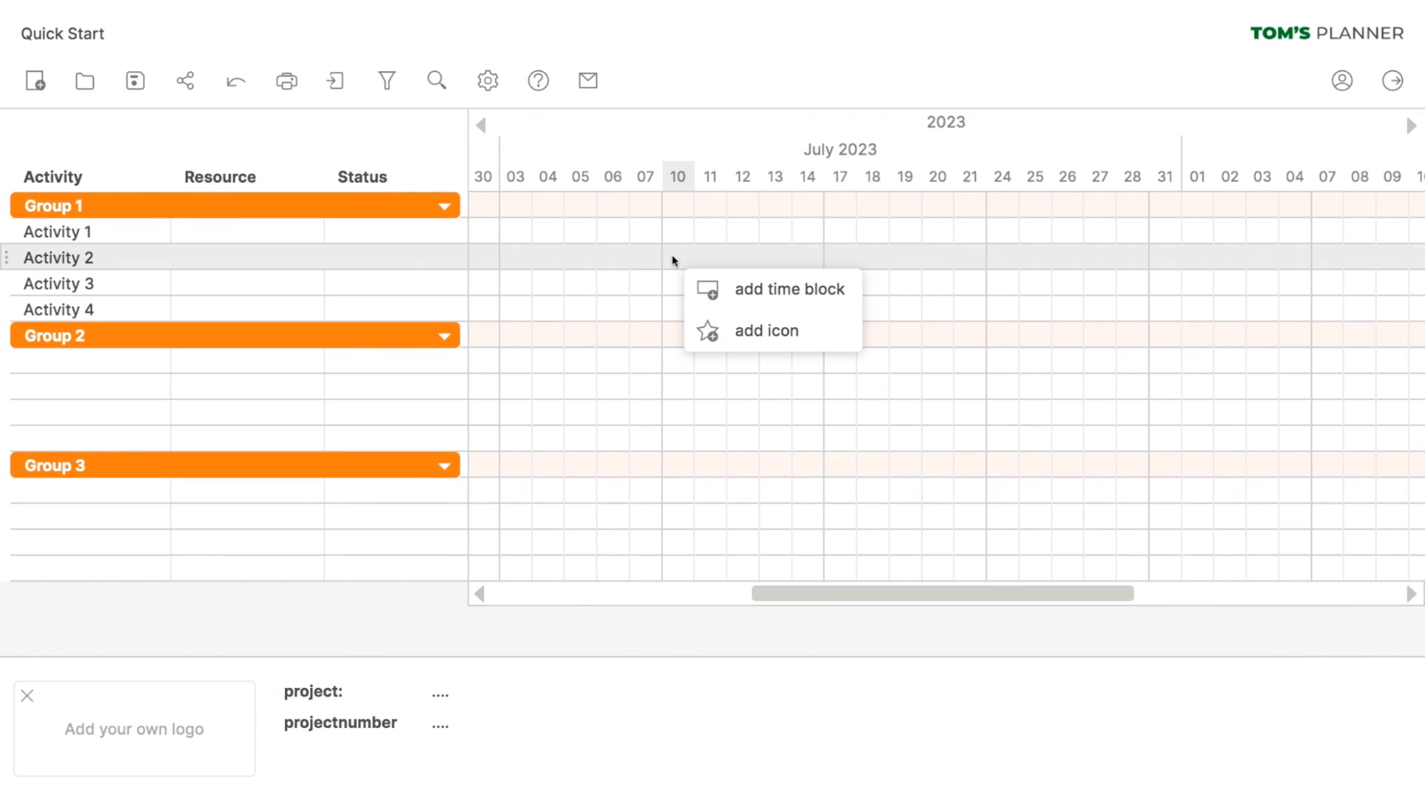 Tomsplanner Gantt Chart Software