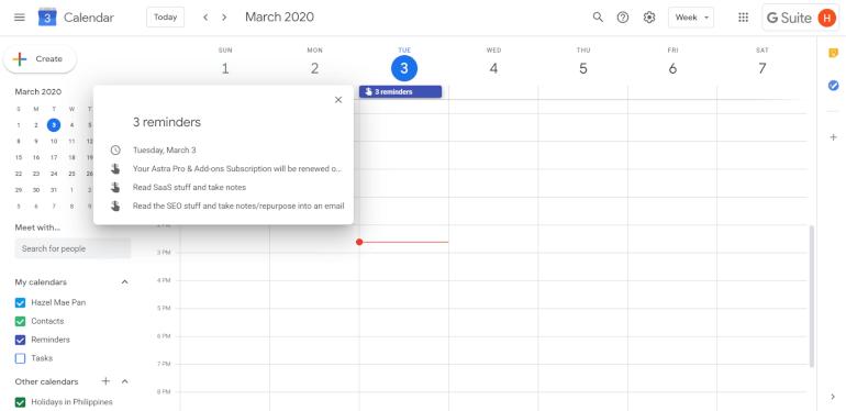 Google Calendar Organizational Tool