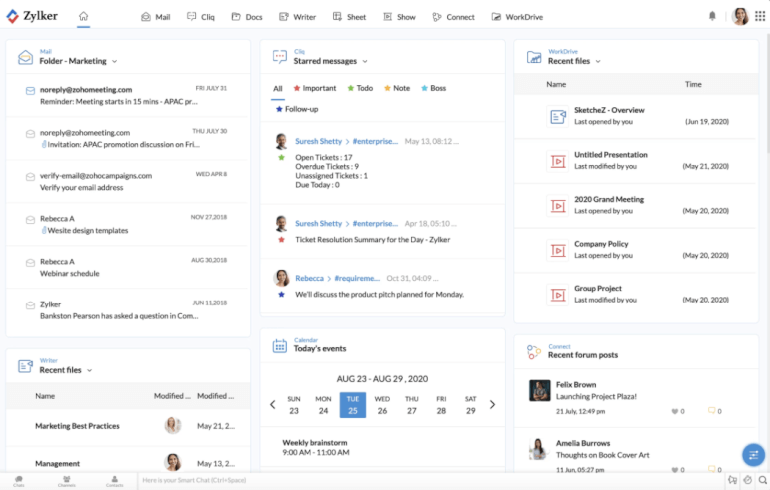 Zoho Workplace Work Management Software