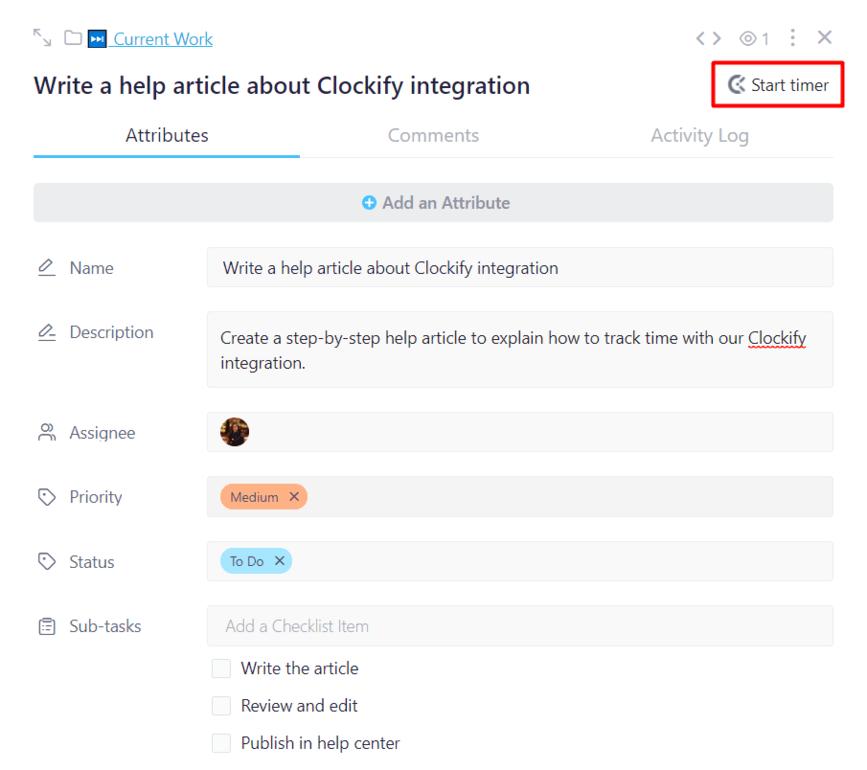 Clockify Integration
