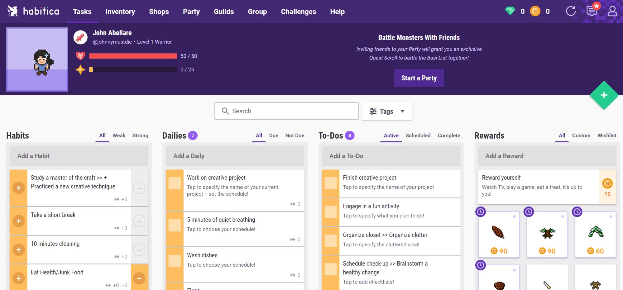 Habitica Productivity App