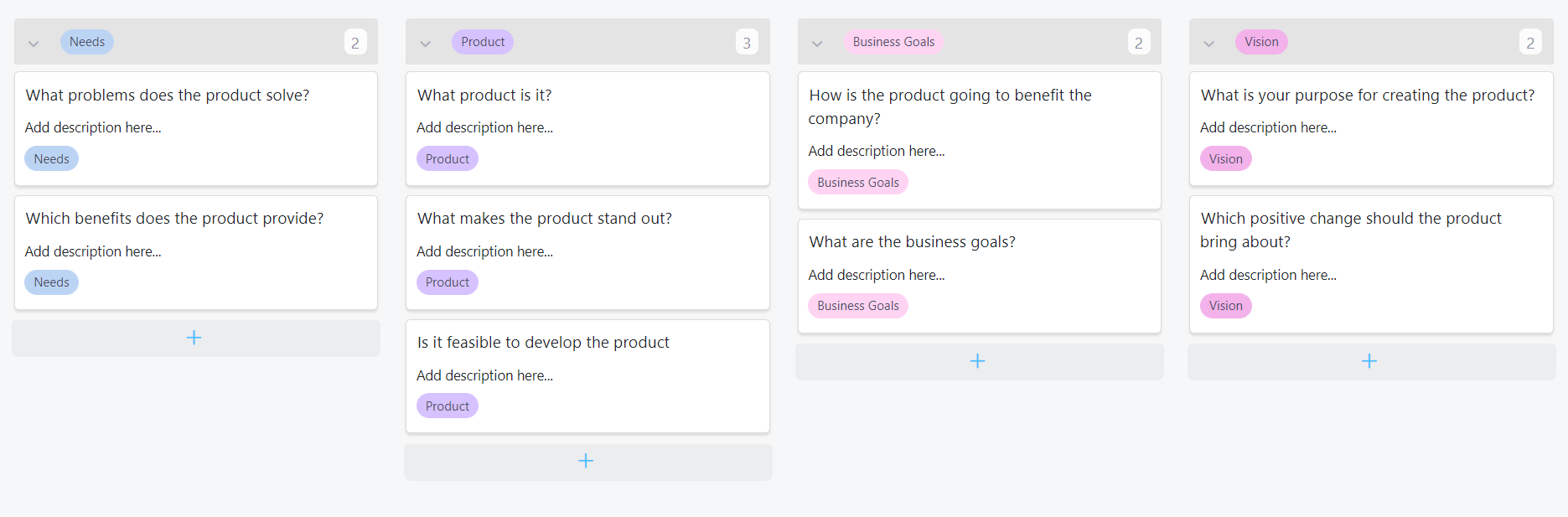 Example of product vision board in Infinity